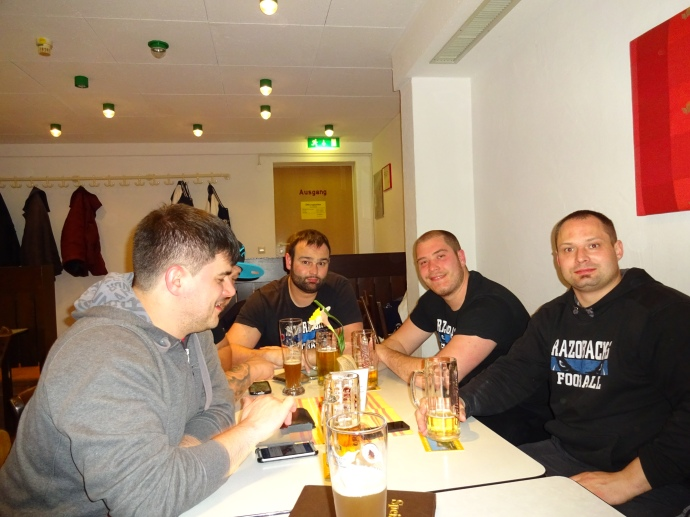 Razorback linemen after a long day in Albstadt.