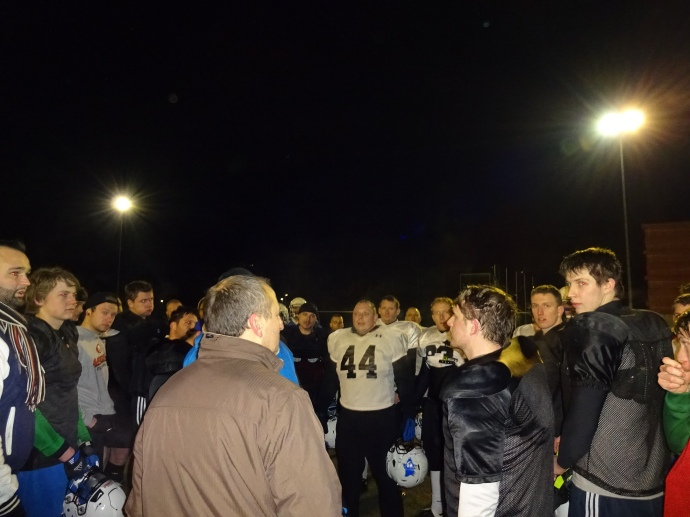 Coach Mille talking to the team after practice last night.